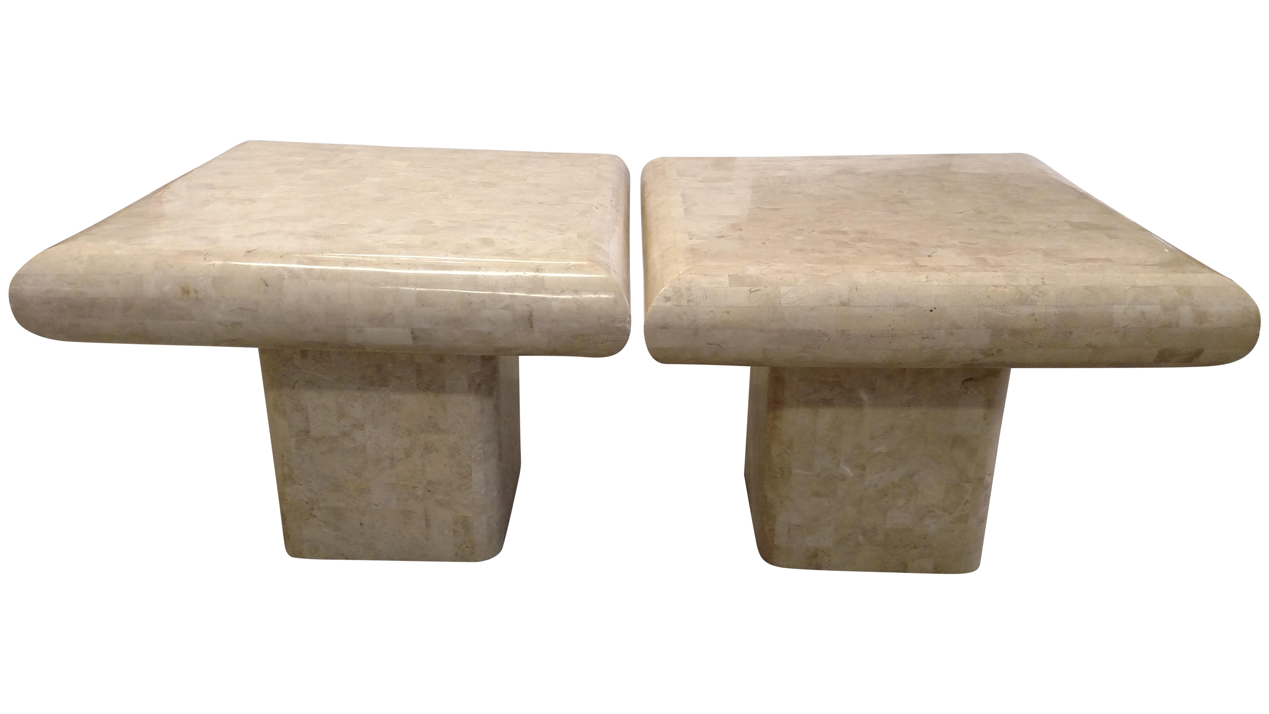 Tessellated Fossil Stone Tables   Pair