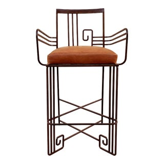 Biltmore Wrought Iron Art Deco Revival Stool by Marina McDonald Jazz Furniture For Sale