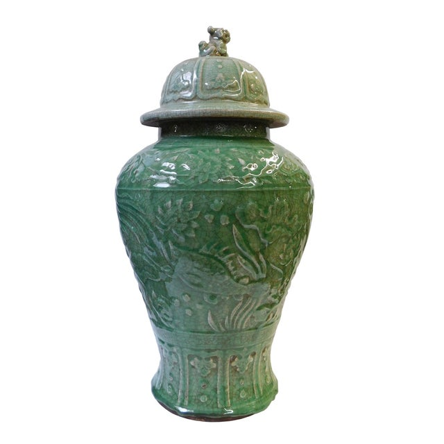 Chinese Crackle Celadon Green Temple Jar - Image 4 of 8