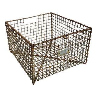 Vintage Industrial Iron Basket For Sale