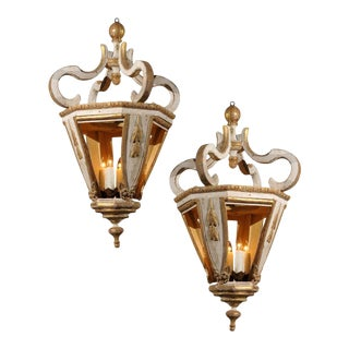 Italian Baroque Style 19th Century White and Gold Hanging Lanterns For Sale