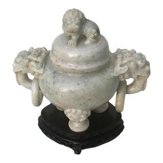 Vintage Chinese Natural Celadon Jade Censer Foo Dog Lion Handles For Sale