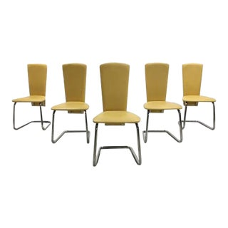Set of 5 Designer Art Deco Style Italian Effezeta Mustard Yellow Dining Chairs For Sale