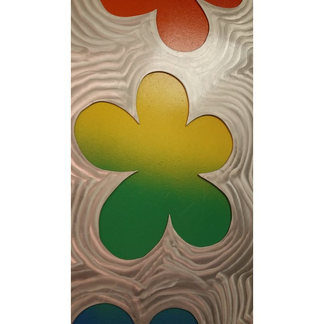 Stainless Steel Brushed Floral Wall Hanging - Image 3 of 6