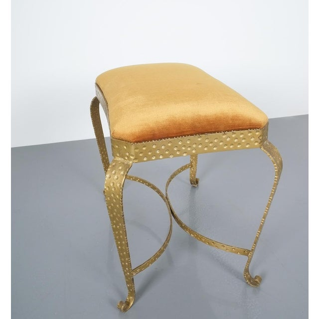 Pair Golden Pier Luigi Colli Iron Bedroom Benches Italy, 1950 For Sale - Image 9 of 12