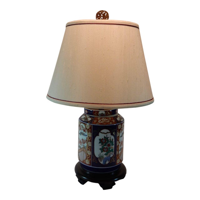 Japanese Imari Ginger Jar Lamp & Silk Shade For Sale