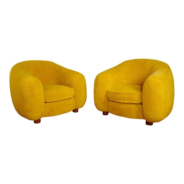 "Jean Royère Genuine Iconic ""Ours Polaire"" Pair of Armchairs in Wool Faux Fur For Sale"