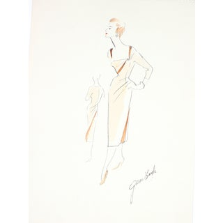 1950s Evening Dress Illustration by G. Bayh For Sale