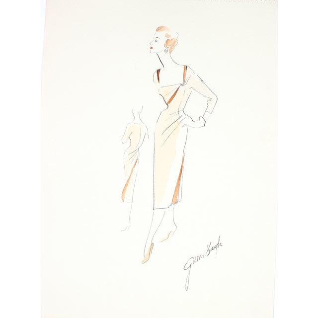 1950s Evening Dress Illustration by G. Bayh - Image 1 of 2