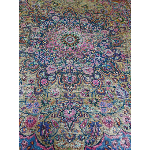 "1920s 1920s Handwoven Kerman Rug 13' 2"" X 10' 4"" For Sale - Image 5 of 13"