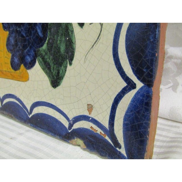 Vintage Hand-Painted Square Fruit Tile - Image 4 of 6