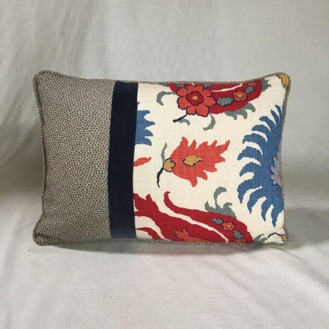 14x20 patchwork pillow in designer fabrics. Coordinating brown geometric back, welt, hidden zipper closure and extra full...