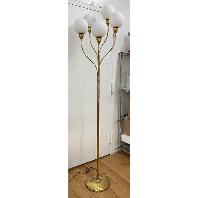 1970s Five-Globe Undulating Brass Floor Lamp For Sale - Image 12 of 12
