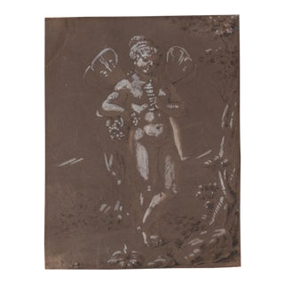 Old Master Drawing Figural Nude With Wings Brown Wash and White Gouache 18th C. For Sale