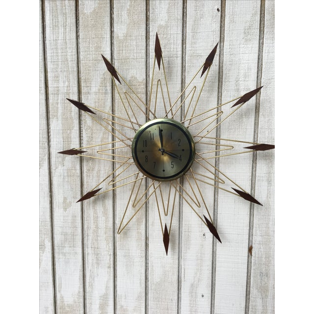Mid-Century Modern Starburst Metal & Walnut Clock - Image 2 of 5