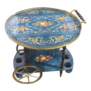 Vintage Italian Marquetry & Brass Drop Leaf Tea Cart For Sale