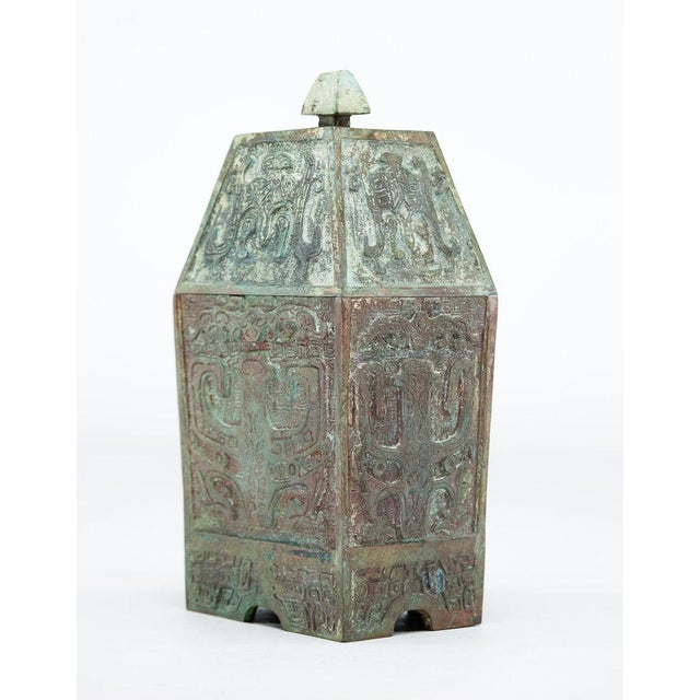 2010s Lawrence & Scott Verdigris Bronze Wine Vessel For Sale - Image 5 of 9