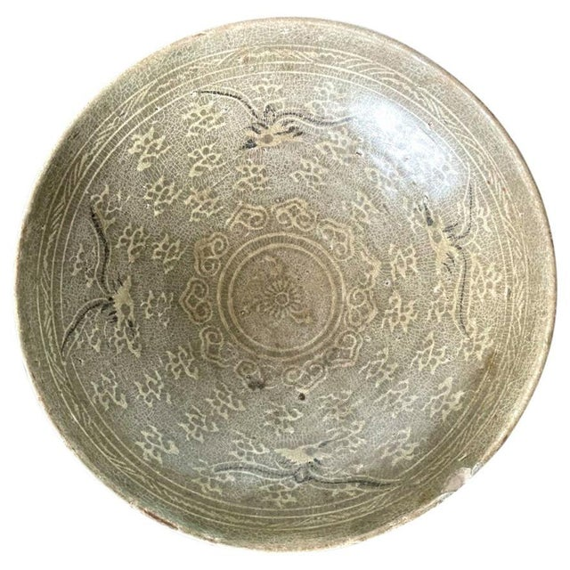 Korean Ceramic Celadon Bowl with Slip Inlay Goryeo Dynasty For Sale - Image 13 of 13