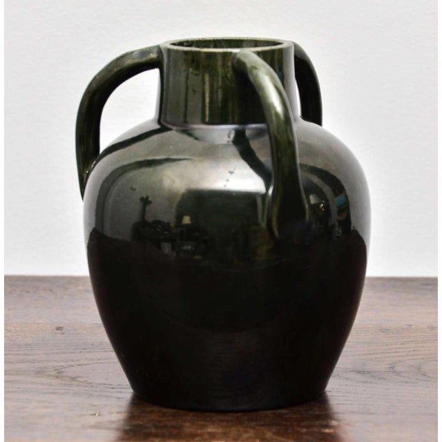 Dark Green Ceramic Vase With Three Handles For Sale In New York - Image 6 of 7