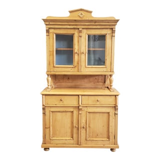 Antique Eastern European Pine Hutch With Blue Interior For Sale