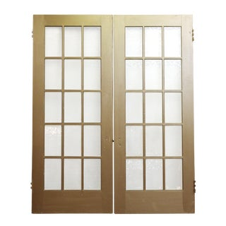 Vintage Mid-Century Gold Painted Wood Doors - A Pair