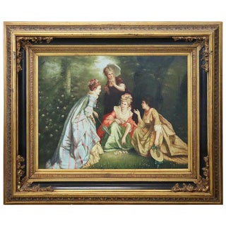20th Century Italian Artist Large Oil Painting on Canvas Girls at the Park For Sale
