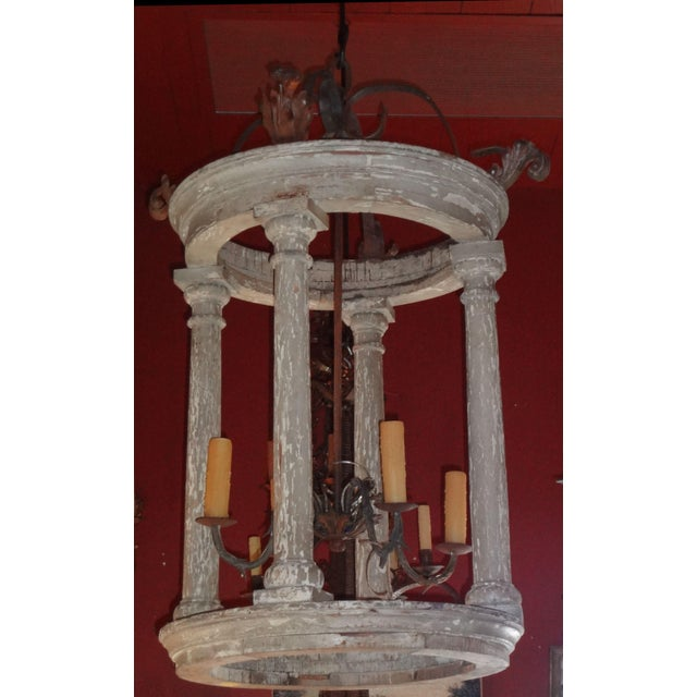 Rustic Large French and Iron Wood Painted Lantern For Sale - Image 3 of 10