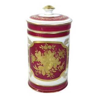 Late 19th Century Antique Gold Decorated Paris Porcelain Apothecary Jar For Sale