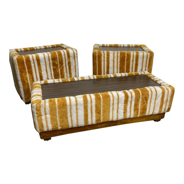 Groovy 70s Carpeted Tables Bench Set - a Set of 3 For Sale