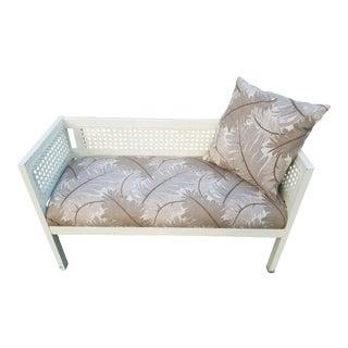 Vintage Cane & Wood Upholstered Settee
