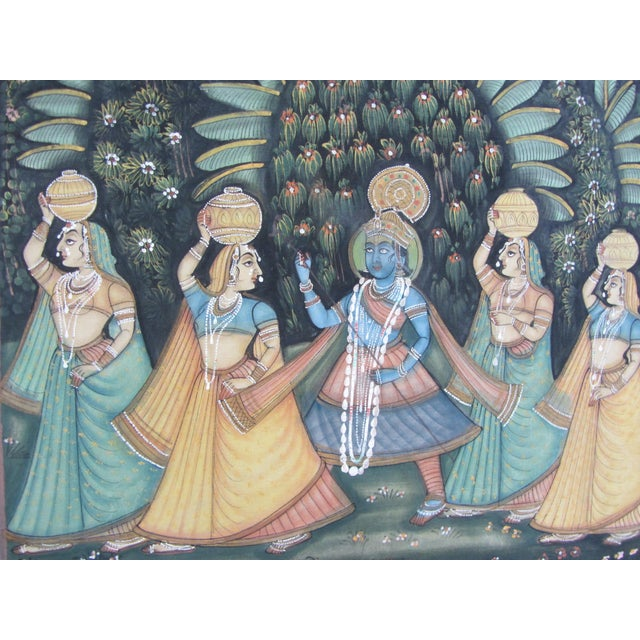 Vintage Hand Painted Indian Silk Tapestry - Image 3 of 8