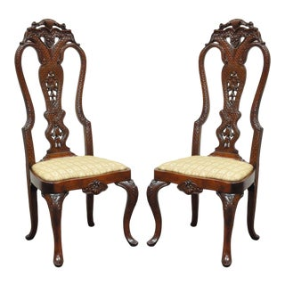 Pair of Vintage Continental Style Reptile Scale Carved Mahogany Side Chairs For Sale