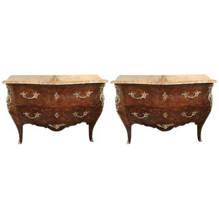 Pair of Louis XV Style Bombe Bronze Mounted Commodes With Rouge Marble Tops For Sale