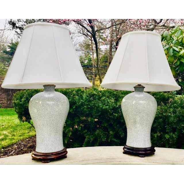 Ceramic Chinoiserie Crackle Vase Table Lamps -- a Pair For Sale - Image 7 of 8