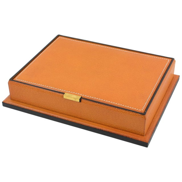 Longchamp Hand-Stitched Leather Box For Sale - Image 13 of 13