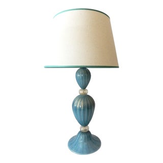 Turquoise Murano Glass Table Lamp For Sale