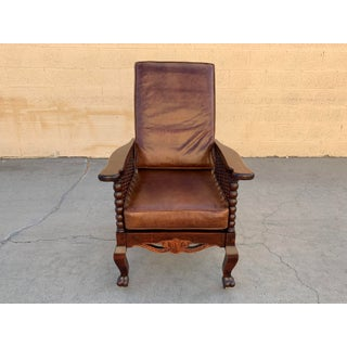Original Antique Morris Reclining Chair With Reversible Leather and Velvet Seat Preview