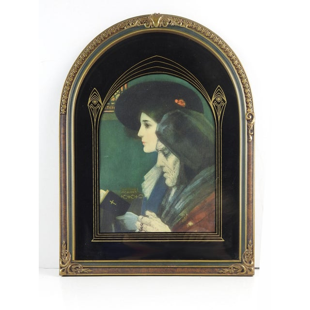 Art Deco Art Nouveau Frame With Print For Sale - Image 3 of 3