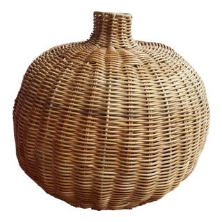 1960s Large Round Vintage Boho Chic Natural Wicker Vase or Vessel For Sale