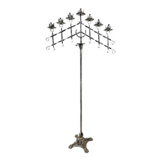 Antique Gothic Wrought Iron Free Standing Candelabra For Sale