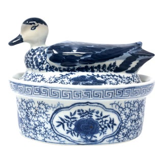 Blue and White Figural Duck Tureen With Greek Key Border