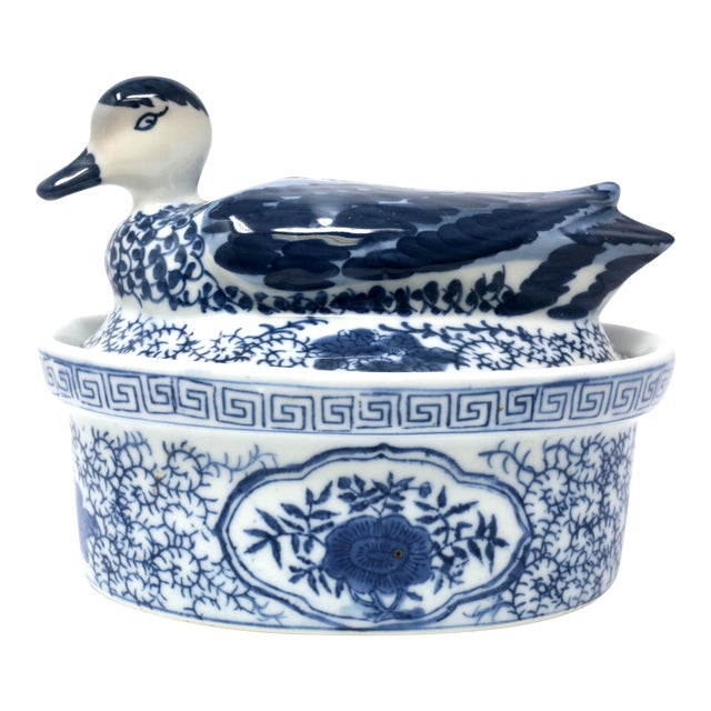 Blue and White Figural Duck Tureen With Greek Key Border For Sale