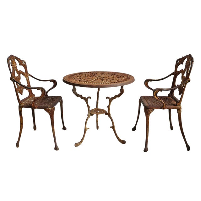 Metal Vintage Cast Iron Bistro Set of Three For Sale - Image 7 of 7