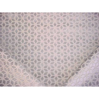 3-3/4y S. Harris 5416404 Hawkes Ice Blue Geometric Velvet Upholstery Fabric For Sale