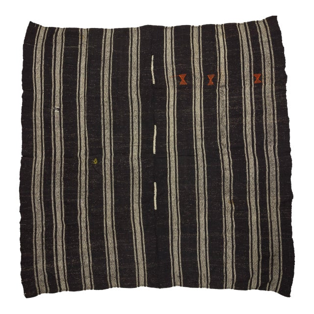 1960's Vintage Kilim Black & Gray Striped Rug- 9′10″ × 10′ For Sale