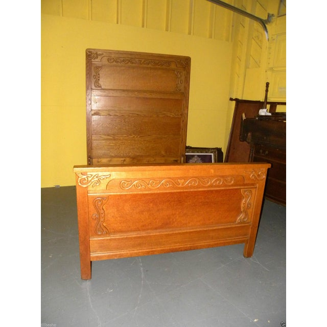 Antique Victorian Oak High Back Bed For Sale - Image 4 of 10