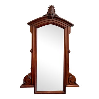 Antique Victorian Walnut Drop Center Dresser Mirror For Sale