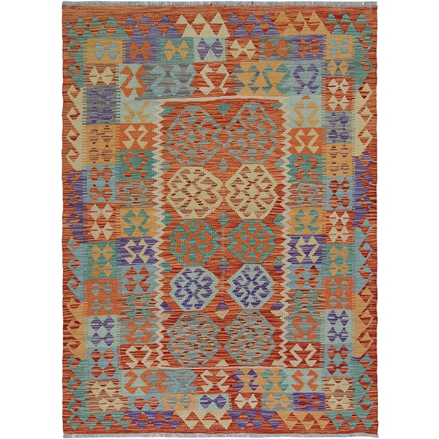 """Textile Hand Knotted Traditional Design Uzbek Wool Kilim. 4'11"""" X 6'5"""" For Sale - Image 7 of 7"""