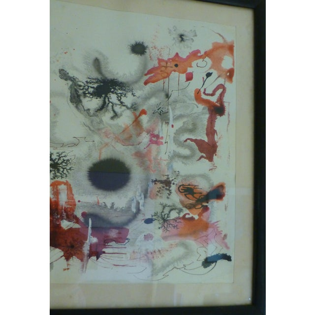 Mid-Century Abstract Watercolor Painting - Image 5 of 8