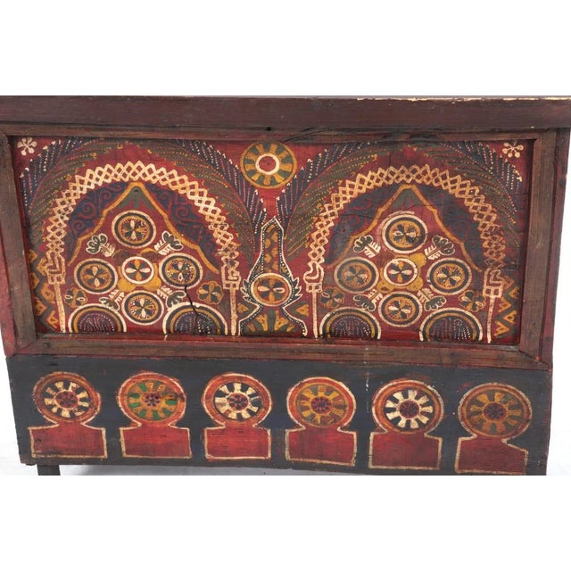 Moroccan Mid 19th Century Moroccan Painted Wooden Chest For Sale - Image 3 of 5